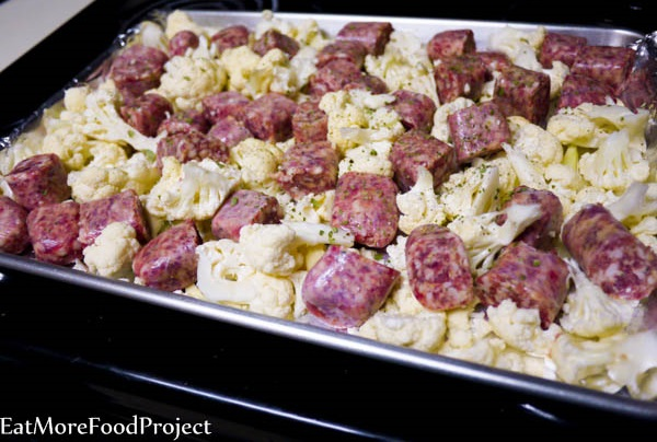 Roasted Lemon Cauliflower with Italian Sausage
