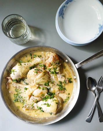 Coq Au Riesling (Chicken with White Wine)