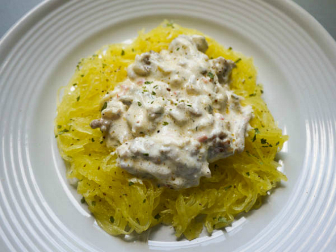 Roasted Spaghetti Squash with Italian Sausage and French Onion Cream Sauce