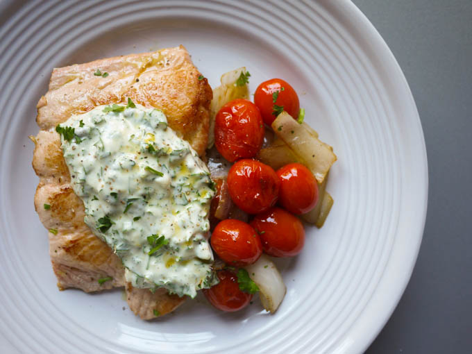 salmon with lemon-caper aioli and warm tomato saute