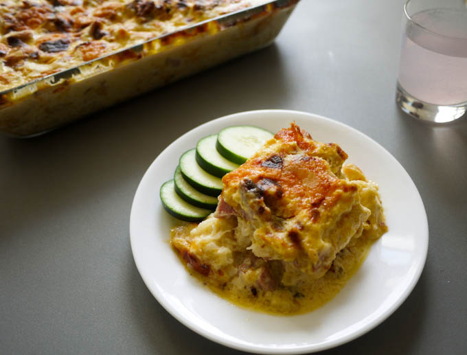 zesty cauliflower ham and cheese casserole