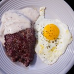 6b cube steak sausage gravy and fried egg