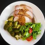 pork fig sauce broccoli salad