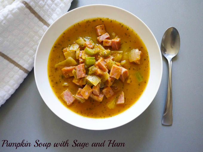 Pumpkin Soup with Sage and Ham - The Eat More Food Project