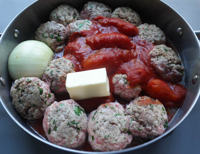 Ricotta Meatballs Tomato Butter Onion Sauce