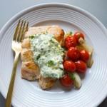 salmon with lemon-caper aioli and warm tomato saute