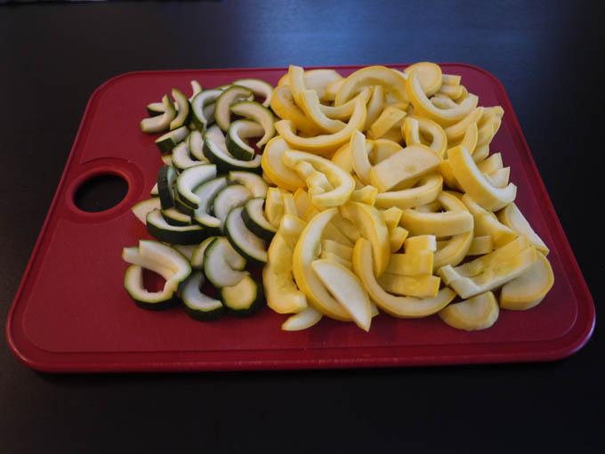 sliced yellow squash and zucchini